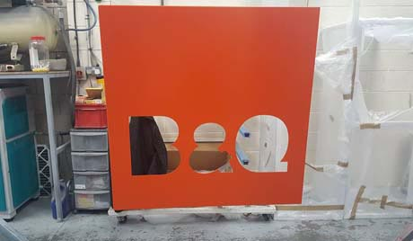 B & Q Powder Coated Sign