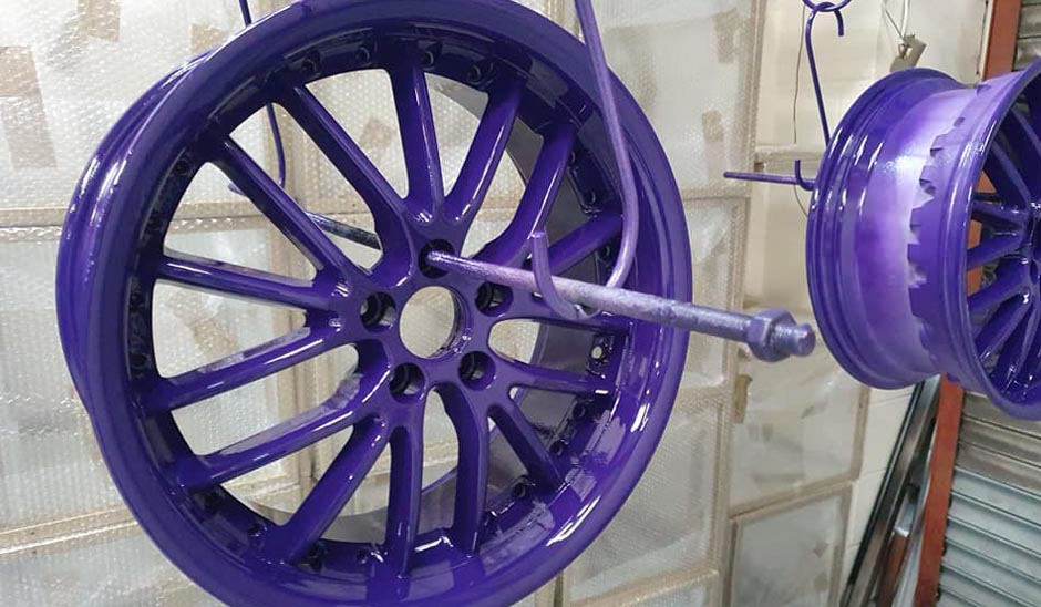 Purple powder coated wheels