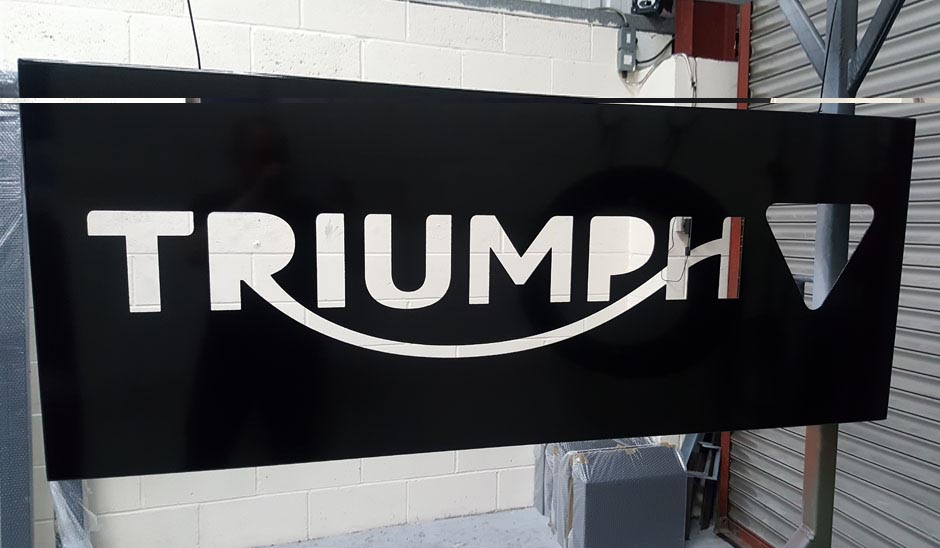 Triumph motorcycles powder coating job
