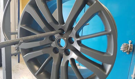 Wheels powder coating close up